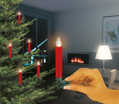 Krinner 74246 - Set básico de iluminación para árbol de Navidad con 10 velas LED inalámbricas y mando infrarrojo, color rojo y luz blanco cálido, pilas incluidas