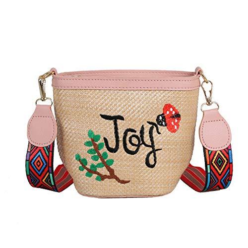 Gestickte Messenger Tasche (Ldyia Stroh Eimer Tasche Rattan Messenger Tasche Handytasche Frauen Umhängetasche gestickte Stroh Tasche, pink)