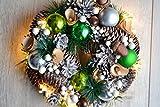 Weihnachtskranz mit 15 LED - hübscher dekorativer Lichter-Weihnachtskranz zum Aufhängen-sorgt für eine weihnachtliche Dekoration, mit grünem Satinband zum Aufhängen