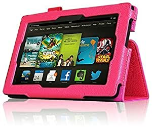 InventCase Amazon Kindle Fire HD 7 Tablet (3rd Generation - 7-Inch) 2013 Smart Multi-Functional PU Leather 2-Fold Case Cover with Sleep Wake Function - Pink