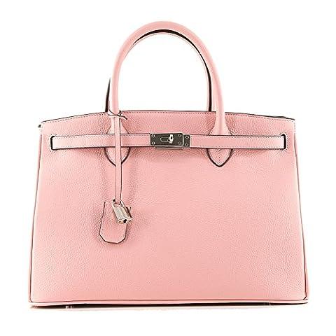 Rouven Ballerina Pale Dogwood Sakura pastel Rose Pink & Silver ICONE 35 CITY Sac fourre-tout Sac en cuir sac à main dames noble moderne minimaliste chic (35x26x18cm)