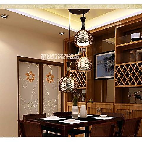 Moderne Garten Retro Kronleuchter, Wohnzimmer, Schlafzimmer KronleuchterMeteor Dusche Massivholz Kronleuchter, Große - drei Kopf Disc