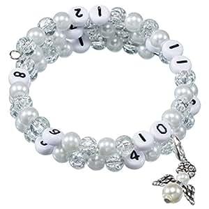 Stillarmband White – Praktisch für stillende Mütter sowie ein ideales Geschenk zur Geburt! (Cracked-/Glaswachsperlen)