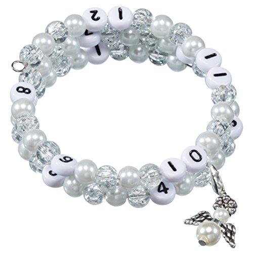 Stillarmband White - Praktisch für stillende Mütter sowie ein ideales Geschenk zur Geburt! (Cracked-/Glaswachsperlen)