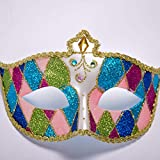 WDERYL Halloween gemalte Maske, Venedig Premium-Painted Flat Head Prinzessin Maske Abendkleid-Partei Halloween-Maske Maskerade Partei-Schablone -