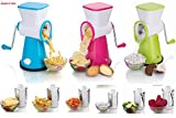 #5: DarkPyro's 6 In 1 Vegetable Grater Mandoline Slicer, Rotary Drum Fruit Cutter Cheese Shredder Thick And Thin Slicer And First Time In India With French Fries Cutter with 6 Stainless Steel Rotary Blades(1 Unit 1 drum with interchangeable blades )