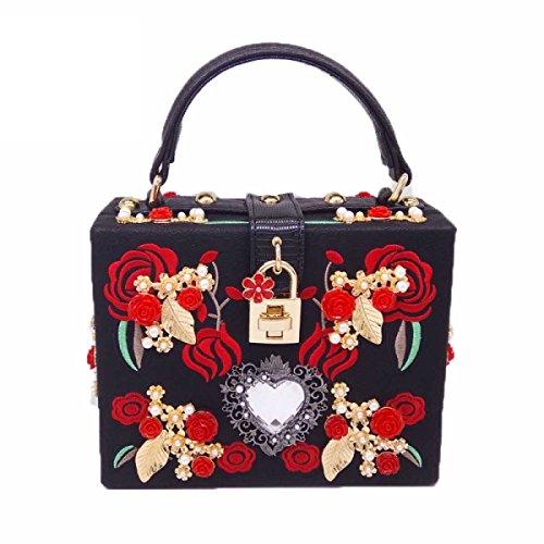 Luxus Boxsack Dreidimensionale Perlenstickerei Blumen Metall Tasche Schultertasche Handtasche Black
