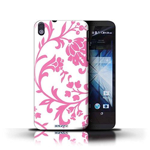Kobalt® Imprimé Etui / Coque pour HTC Desire 816 / Fleurs Verte conception / Série Motif floral Fleurs Rose
