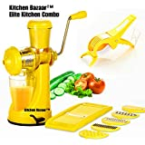 [Sponsored]Kitchen Bazaar™ Elite Kitchen Combo - Fruit & Vegetable Manual Juicer Mixer Grinder With Steel Handle, 6 In 1 Multi-Purpose Fruit & Vegetable Slicer & Multi  Veg Cutter With Peeler - Chilly Cutter,Carrot ,Banana Cutter -