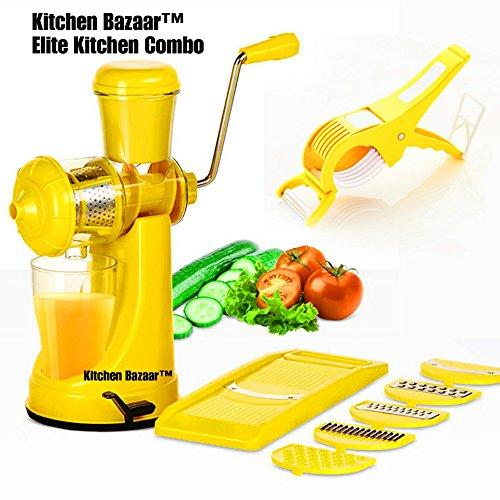 [Sponsored]Kitchen Bazaar™ Elite Kitchen Combo - Fruit & Vegetable Manual Juicer Mixer Grinder With Steel Handle, 6 In 1 Multi-Purpose Fruit & Vegetable Slicer & Multi Veg Cutter With Peeler - Chilly Cutter,Carrot ,Banana Cutter -