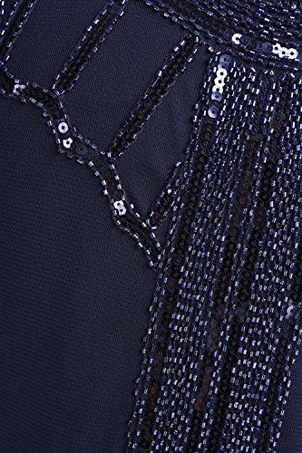 Kayamiya Damen Retro Inspiriert 1920er Paillette Perlen Art Deco Franse Flapper Kleid Noble Blau