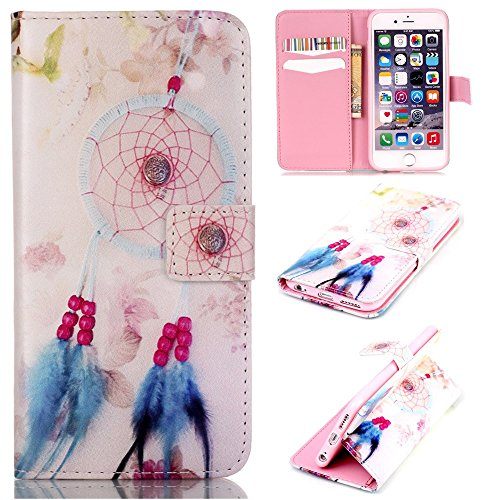 CaseHome Compatible For iPhone 6/6S 4.7 Inch Wallet Funda,Carcasa PU Leather Cuero Suave Cover Función De Soporte Billetera Estilo del Libro Protector para Apple iPhone 6/6S-Rosado Atrapasueños
