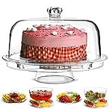Multifunktioneller 5 in 1 Kuchenaussteller mit Abdeck-Kuppel| Kuchenkuppel, Punchschüssel, Salatschüssel, Server Chip & Dip , Servieraussteller, Abdeck Kuppel für Lebensmittel