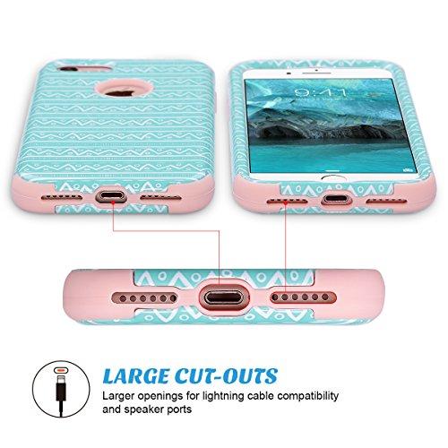 Custodia iPhone 7, ULAK iPhone 7 Cover ibrida a 3 strati in silicone a shell super protettiva prova di collisione case cover per Apple iPhone 7 (4,7 pollici) -Marmo Wave Pattern