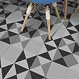 JY ART ZYX Fliesenaufkleber Dekorative Wandgestaltung mit Fliesenaufklebern für Küche und Bad, Deko-Fliesenfolie für Küche u. Europäisches Muster Grau und Weiß Dekoration CZ064, 20cm*100cm*5pcs