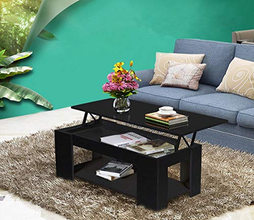 Directachat56 Table Basse, 100 cm, escamotable, Noir