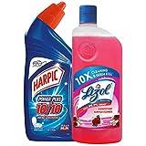 Harpic Powerplus Disinfectant Toilet Cleaner, Original - 500 ml + Lizol Disinfectant Floor Cleaner, Floral - 500 ml