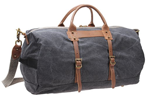 Iblue Leinwand Travel Weekender Leder über Nacht Duffels Carry On Gepäck # d-006