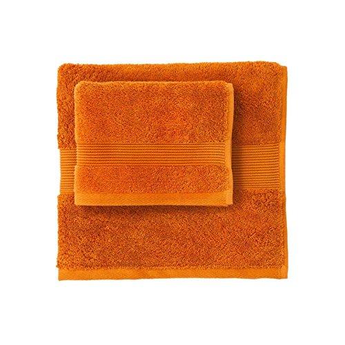 Set coppia 2 pezzi 1+1 asciugamano 60 x 110 + ospite 40 x 60 zucchi solotuo col.1901 arancio tinta unita asciugamani 100% spugna di puro cotone