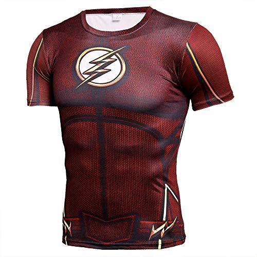 Alle Flash Kostüm - HOOLAZA The Flash Rot Red Männer Kurzarm Kompression Herren T-Shirt Fitness Sport Gym
