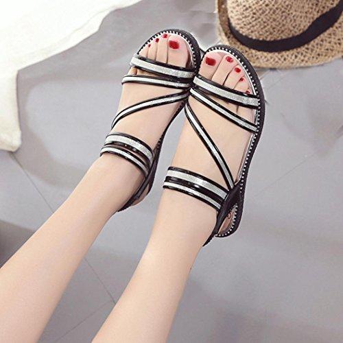 Omiky® Sommer Fashion Gladiator Sandale Frauen flache Schuhe Sandalen bequeme Schuhe Schwarz