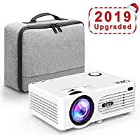 QKK Projector, Mini Projector with Carry Bag, Video Projector 2500 Lux, Supports 1080P Full HD, Connection with HDMI VGA SD USB AV Devices, White.