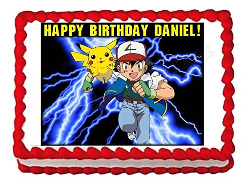 POKEMON Pikachu Edible image Cake topper decoration-7.5x10(1/4 sheet) by cakedeco