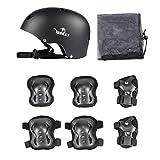 Yorbay Skateboard Protections Lot de Helmet avec 6pièces. Knee Pads Elbow Pads avec protège Poignet pour Les Enfants Lors de Skate, vélo, Skateboard, Roller Skate (Noir, M)