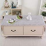 JYY Tischdecken Couchtisch Tischdeko Tischtücher Aus Baumwolle Und Leinen Tischschutz Lattice Tischwäsche Schwarz Und Weiß Und Grau,C-170 * 60CM