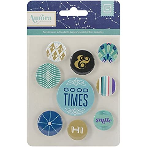 Basic Grey Aurora Flair Button Badge Embellishment Stickers aur-4749