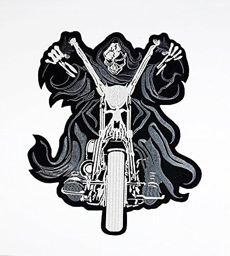 rabana XXL Totenkopf Sensenmann Ghost Rider Motorrad Biker Club Patch für Heimwerker Bone Ghost Hog Outlaw Hot Rod Motorräder Rider Lady Biker Jacket T Shirt Patch Sew Iron on gesticktes ()
