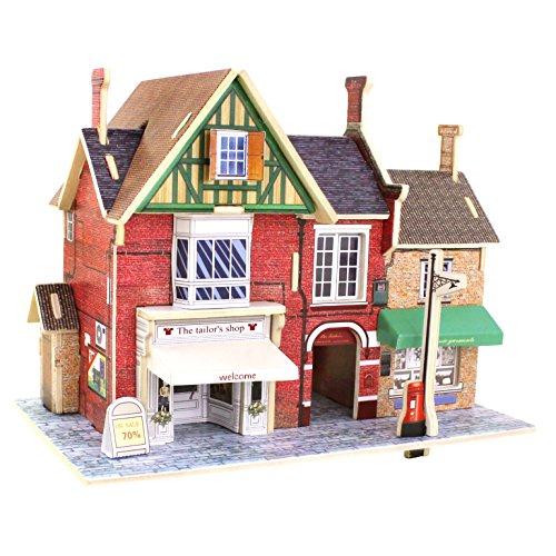 ROBOTIME Holz 3D Haus der Puzzles britischen Bekleidungsgesch?ft Woodcraft BAU Kit montieren DIY Weihnachten Geburtstag Geschenk Puppen Haus Kit