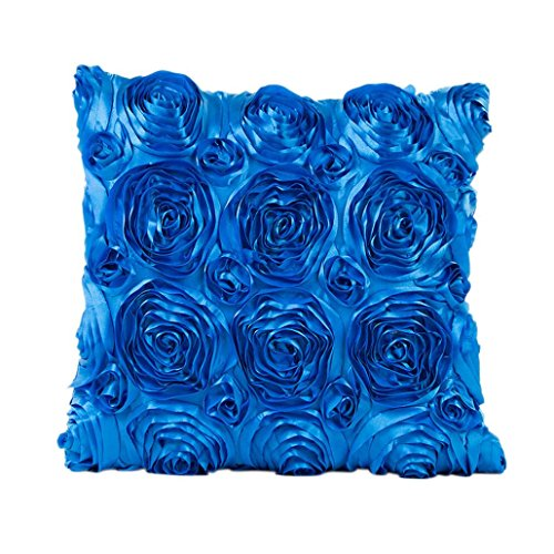 Indexp Rose Embroidery Throw Cushion Cover Sofa Home Decoration Pillow case (Blue)