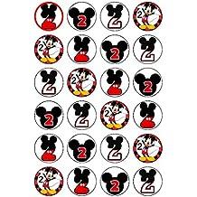 B 24 x 2º cumpleaños Mickey Mouse Comestible Cupcake Adornos
