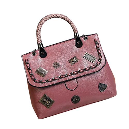 YouPue Damen Leder Handtaschen Umhängetasche Schultertasche Schulter Hobo Set Taschen Damen Handtaschen PU Leder Pink