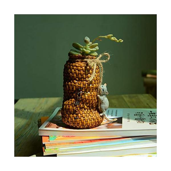 LASISZ Colección Cesto de Gato de Resina Decoración para el hogar Accesorios y decoración de Jardines de Hadas y macetas Decoradas