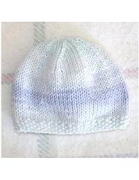 Bonnet Bébé Fait Main Bord Point de Riz - Bleu   Vert Mélange   Enfant  Prématuré c9b1dc683da