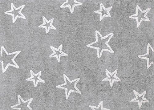 Alfombra 100% Algodón lavable en lavadora 120x160 cms Estrella Gris (Obsequio Guía de guías para padres de Cuna y Paseo)