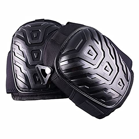 Professional Knee Pads, Layered Gel Neoprene Fabric Liner Heavy Duty Foam Padding, Comfortable Gel Cushion, Strong Double Straps and Adjustable Easy-Fix Clips