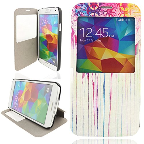 Ancerson® PU Leder Tasche Schutzhülle für Samsung Galaxy S5 SV I9600 Flip Case Transparent Fenster-Ansicht Ledertasche Etui Schutz Hülle Handytasche Standfunktion (Retro Rot Stamm Malerei Farbenreich) -