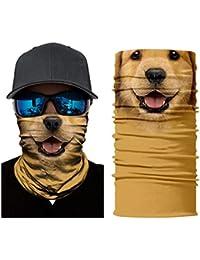 quiv Multifuncional Headwear Bufanda Venda, Sweatband Pañuelos Perro Animal Patrón Versátil Deportes Cara Máscara, Estirable Pañuelo Cuello Polaina, Hombres Venda UV Resistencia , A