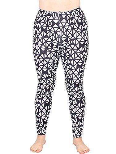 Leggins Damen Leggings leggings mit Muster bunt schwarz weiß elastisch 455 lang ( 8 / S/M ) - 2