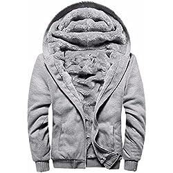 Manluodanni Homme Hiver Chaud Sweats Épaisse Veste à Capuche Doublée Polaire Manteaux Doux Hoodie Blousons Sweat-Shirts Manches Longues en Polyeste et Cotton Gris XL