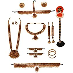 Complete set Bharatanatyam Jewellery set with all the 10 separate ornaments Made with Red quality Kemp stones WEDDING Set For Women By Manav Company