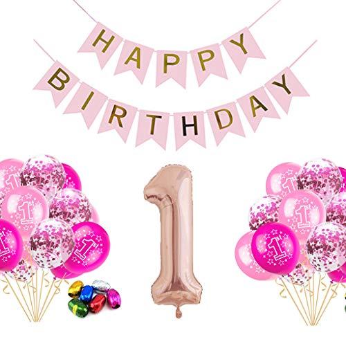 Dekorationen, erste Geburtstag Party für Mädchen Hen Party Dekoration Konfetti Latex Luftballons Rosegold Happy Birthday Garland Bunting Banner Luftballons Dekorationen ()
