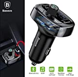 Baseus Wireless MP3 Charger Car Audio Player Bluetooth FM Transmitter Kit Wireless Radio 3.4A Dual USB Mobile Charger Media Player U Disk TF Card Slot Handsfree Calling (S-09)