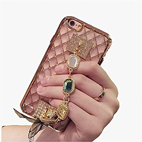 Jinberry Luxury Bling Soft TPU Case with Rhinestone Chain for Samsung S6 Edge / Elegant Glitter Shiny Crystal Back Cover / Thin Fit Scratch Resistant Silicone Shell for Samsung S6 Edge - Rose Gold