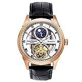 George Etherington Clerkenwell Herren Automatik-Uhr Armbanduhr - Analoge Selbstaufziehende Mechanische Uhr - Rundes Gehäuse und Lederarmband - Mondphase, 3ATM Wasserdicht (Rotgold)