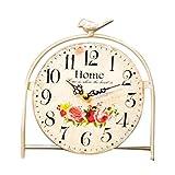 S.W.H Europäischen Garten Stil Eisen Kunst Birdie Kreative Home Shop Dekoriert Tisch Runde Uhr Halloween Weiß