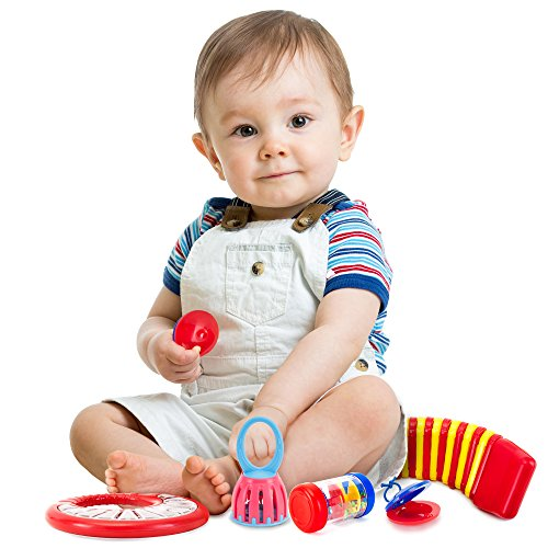 Tulatoo Baby Toys Musical Instrument Set - Fun Percussion Set And Music Toy For Babies And Toddlers - Includes 2 Clappers, Tambourine, Caterpillar, Hand Bell And Mini Rainmaker